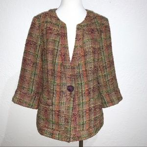 Coldwater Creek Purple Tweed Single Button Jacket